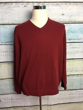 CEZANI Men's Red 2-PLY 100% Fine Cashmere V Neck Sweater - Size XL