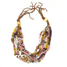 """Vintage Pink Purple Yellow White Beads Chunky Statement Rope Necklace 18"""""""
