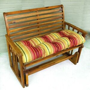 "Porch Swing Cushion Glider Bench Seat 44"" Tufted Padded Patio Striped Red Yellow"