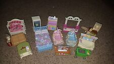 LOT 13 PCS Fisher Price DOLLHOUSE Furniture BABY Nursery TWINS Bath TV Bed GRILL