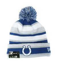 New Era NFL Indianapolis Colts 2015 Royal Gray Beanie Stripped Lined Pom Hat