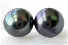 PERFECT AAA  13-14MM HUGE TAHAITIAN GENUINE  BLACK PEARL EARRING 14K