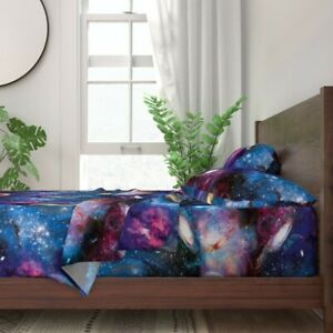 Galaxy Abstract Space Outerspace Nebula 100% Cotton Sateen Sheet Set by Roostery
