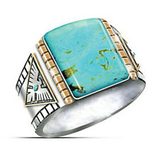 925 Silver Huge Turquoise Band Ring Women Man Engagement Party Wedding Size 7-13