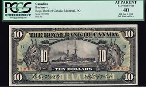 1913 Royal Bank of Canada $10 PCGS EF40