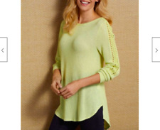 Soft Surroundings Waffle Knit Bailey Sweater Top Embroidered Ribbed Green PL $80