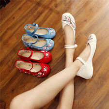 Women Casual Chinese Handmade Embroidered Flower Cloth Shoes Mary Jane Shoes