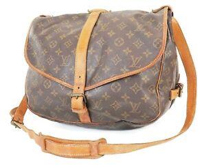 Authentic LOUIS VUITTON Saumur 35 Monogram Crossbody Shoulder Bag Purse #38737