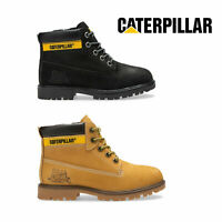 CAT Caterpillar Boys Durable Lace Up Side Zipper Padded Leather Colorado Boots