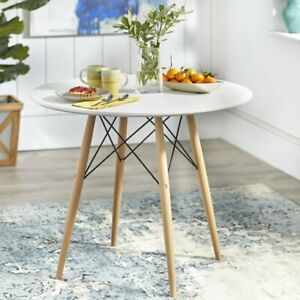 AINPECCA White Dinning table Round table Wood legs Dining room Cafe office