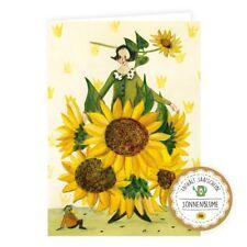Doppelkarte, Klappkarte, Samenkarte SONNENBLUME | Glückwunschkarte mit Samen