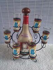 Mexican Barware Tequila Cow Bull Decanter leather 6 Shot Glass Set metal stand