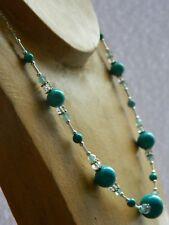 Turquoise Gemstones, Vintage & Swarovski Crystals & 925 Sterling Silver Necklace