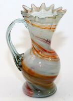"""Blown Art Glass 6 7/8"""" Vase Ewer Pitcher Swirl Colors Ruffled End Of Day EUC"""