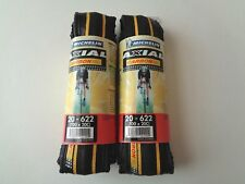 *NOS Vintage MICHELIN AXIAL 'CARBON' 700 x 20C black/Yellow clincher tyres*