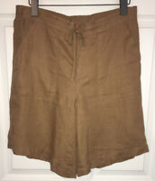 Orvis Women's Khaki Linen Drawstring Flat Front Shorts Sz M EUC