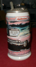 Gorgeous Lidded Ceramic Beer Stein with Pink Cadillac Decor -  Perfect Shape!