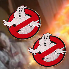 """GHOSTBUSTERS - Pair of 8cm / 3"""" Classic Movie Embroidered Iron-On Patches... NEW"""