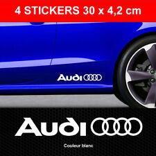 Stickers AUDI ANNEAUX Blanc 4 Autocollants Adhésifs Bas de Caisse 30 cm x 4,2 cm