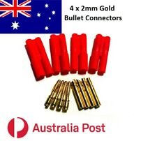 Genuine 2mm Gold Bullet Connectors Male/Female (4 connectors)
