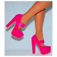 Ladies Fuchsia Pink Faux Suede Court Block High HEELS Shoes Sizes 3 4 5 6 7 8 Uk5/euro38/aus6/usa7 Koi .