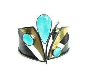 LynnHarrisberger Blue Moon Turquoise Sterling 14k 18k Gold Cuff Bracelet $1825