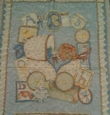 Cute Blue quilt with baby carriage crib size 29 x 43-**CLEARANCE**FREE SHIPPING!