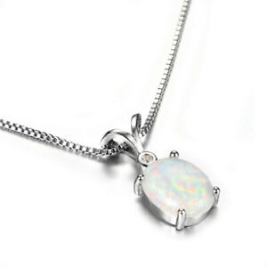 Fashion Lady Silver Oval White Simulated Opal Pendant Necklace Wedding Jewelry