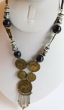 """Painted Black White Beaded Necklace 26"""" Vintage Peruvian Coin Lama Artisan Hand"""
