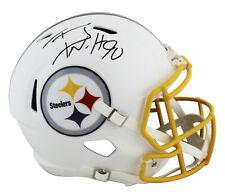Steelers T.J. Watt Signed Flat White Full Size Speed Rep Helmet JSA Witness