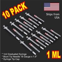 10 Pack - 1ml Syringe w/ 18GA  x 1-1/2 Blunt Needle + Stopper Cap + Scabbard
