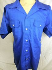 Route 66 AS NEW NWT Blue Cotton Rockabilly Hot Rod Short Sleeve Work Shirt XXL
