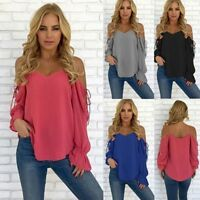 -Women Off Shoulder Sexy Long Sleeve Shirt Lace Blouse Loose Cotton Top Shirts-