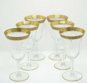 Tiffin Franciscan Optic Rambler Rose Gold Encrusted Crystal 6 Water Goblets
