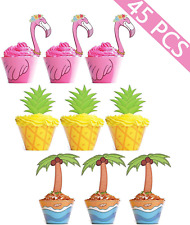 Tropical Party Luau Flamingo Moana Birthday Party 12 CT Pineapple Cupcake Toppers Hawaiian Party