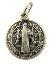 """MRT One St Benedict Two Sided Silver Plate Medal Protection From Evil 5/8"""" Gift"""
