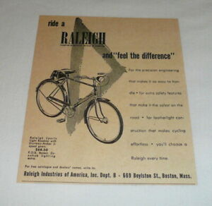 1953 RALEIGH bicycle ad ~ SPORTS LIGHT ROADSTER ~ Feel The Difference