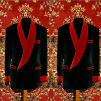Men Dinner Suit Blazer Coat Velvet Jacket Tuxedo Groom Prom Wedding Shawl Lapel