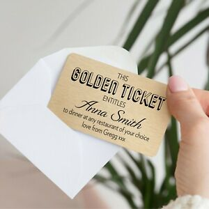 Personalised Golden Ticket Metal Wallet Card Birthday Fathers Day Gift Voucher