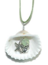 LARGE SEA SHELL NECKLACE WITH SEA GLASS & CHARMS (N012)
