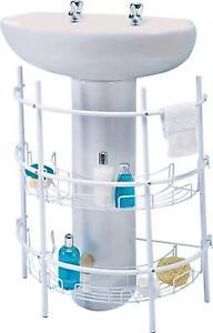 Home Under Sink Storage Unit - White Shelf Rack Bathroom Clean & Tidy Display