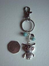 * KEY RING / HANDBAG CHARM - OWL - BLUE BEADS - 12.5 cms LONG