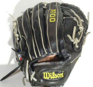 "Wilson A700 RHT 12.5"" Black Baseball Glove Mitt Ecco Leather"