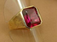 Vintage 1940s 1950s Baden & Foss 10K YG Synthetic Ruby Mens Ring - Size 10