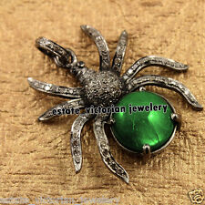 Amazingly Vintage 3.75cts Rose Cut Diamond Emerald Silver Spider Pendant Jewelry