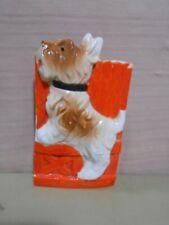 Vintage Scotty Dog Wall Pocket Japan Porcelain Scottish Terrier