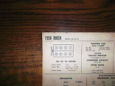 1956 Buick Eight Series 50-60-70 Models 322 Cubic Inch V8 Tune Up Chart Last 1!