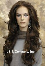 Heat Safe FRENCH LACE FRONT WIG Extra Long Natural Wavy Brown Mix A8 4-30