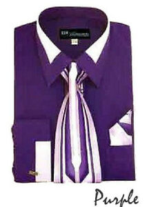 Men's French Cuff Dress Shirt with Tie And Handkerchief 7 Colors Size 15~20 SG34