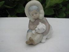 "Mint! Exquisite Lladro #1195 ""Eskimo Playing With Cub"" ~ Original Box"